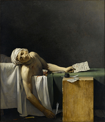 Marat assassiné. 13 juillet 1793, par l'atelier de David. Photo (C) RMN-Grand Palais (Château de Versailles) / Gérard Blot