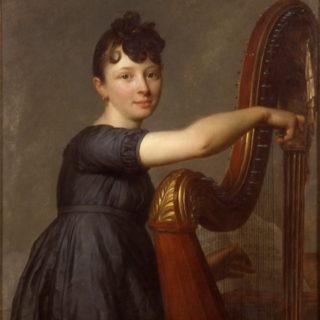 Portrait de Mlle Larmoyer en harpiste - Antoine Vestier, cl. Musées de Sens - E. Berry
